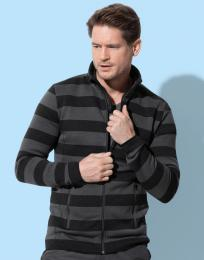 Pánská pruhovaná fleece bunda