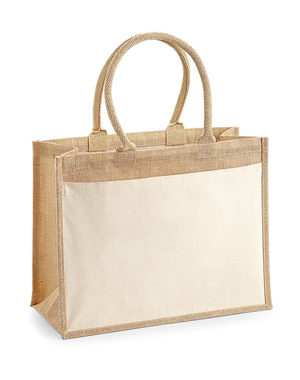 Jutová taška s kapsou z bavlny Shopper - zvìtšit obrázek