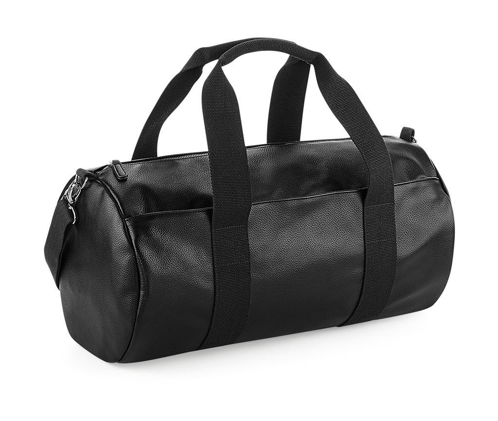 Faux Leather Barrel Bag - zvìtšit obrázek